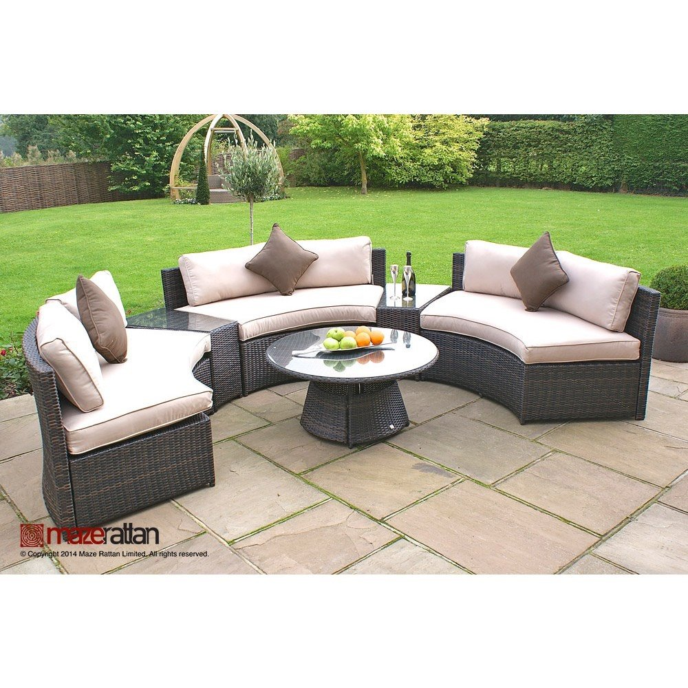 rattan half moon sofa set simmons and loveseat reviews maze the clearance zone