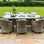 Maze Rattan Oxford 8 Seat Oval Ice Bucket Dining Set With Heritage Chairs The Clearance Zone