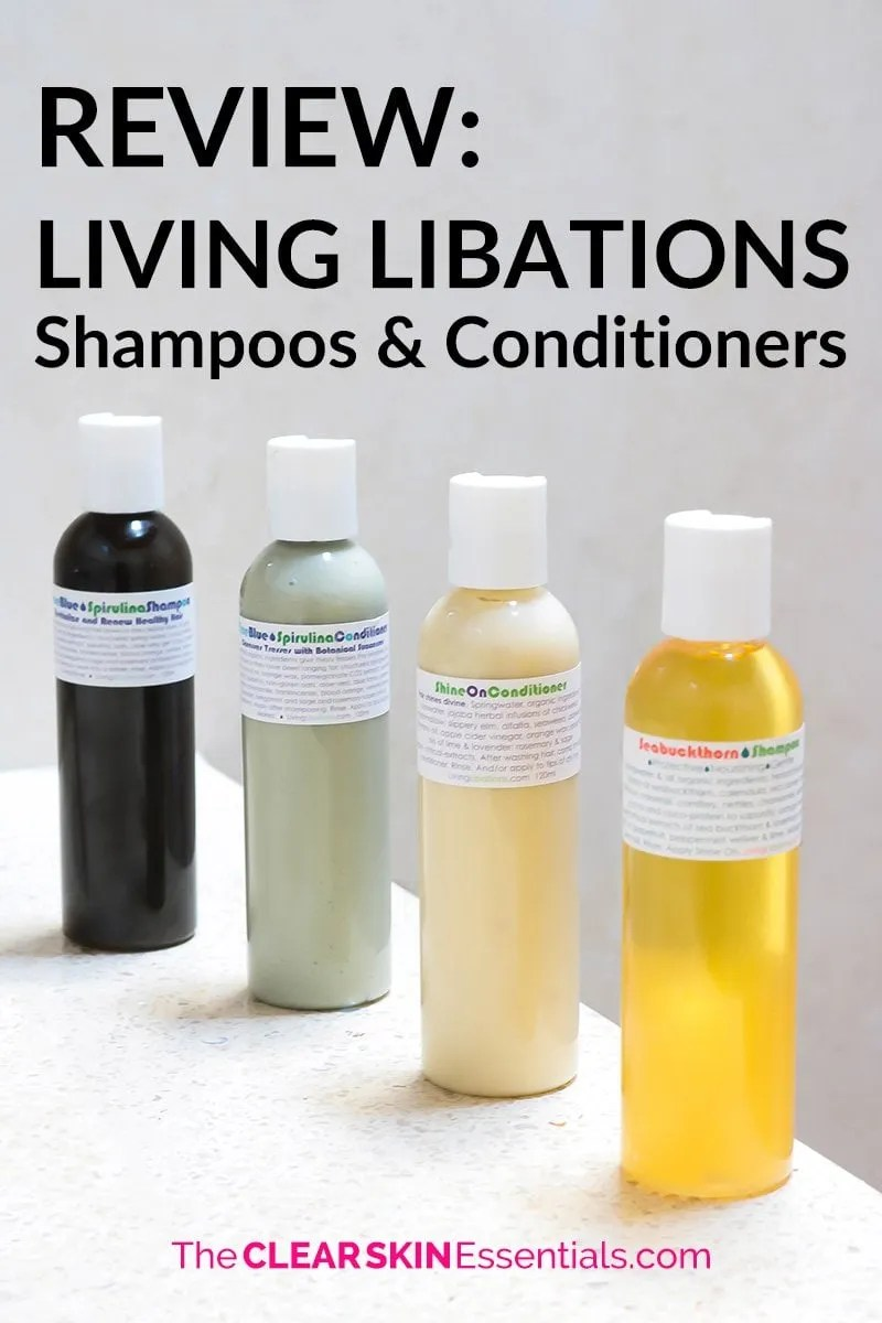 A lot of mainstream hair care products give me breakouts and damage my hair. I much prefer using hair care that doesn't have silicones or sulfates. Here's a full review of a bunch of natural hair care products from Living Libations (Seabuckthorn Shampoo, Shine On Condition, True Blue Shampoo & Conditioner, Honey Myrtle Deep Conditioning Hair Mask, and Flowers In Her Hair Dry Shampoo). These are by far the best all-natural hair care products I've tried. Click through for the full review and video. | www.TheClearSkinEssentials.com