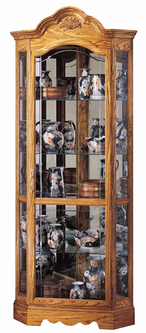 Howard Miller 680207 Wilshire Oak Corner Curio Cabinet