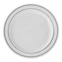 White and Silver China Like Plastic Plates- 10 Count ...