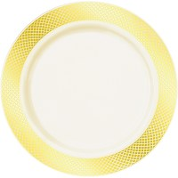 Crystal Collection Premium Plastic Plates - Ivory/Gold ...