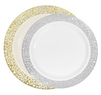 Luxury lace Disposable plastic plates: Ivory/Gold and