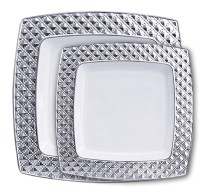 Decor Diamond Collection White/Silver Plastic Plates