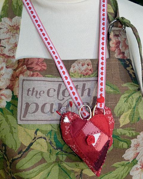 Crazy quilt heart pincushion 5