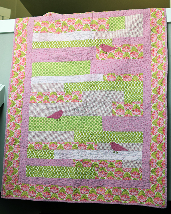 Pink and Green Baby Stripes Quilt