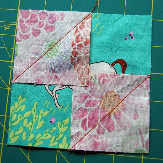 Sewn-along-diagonals