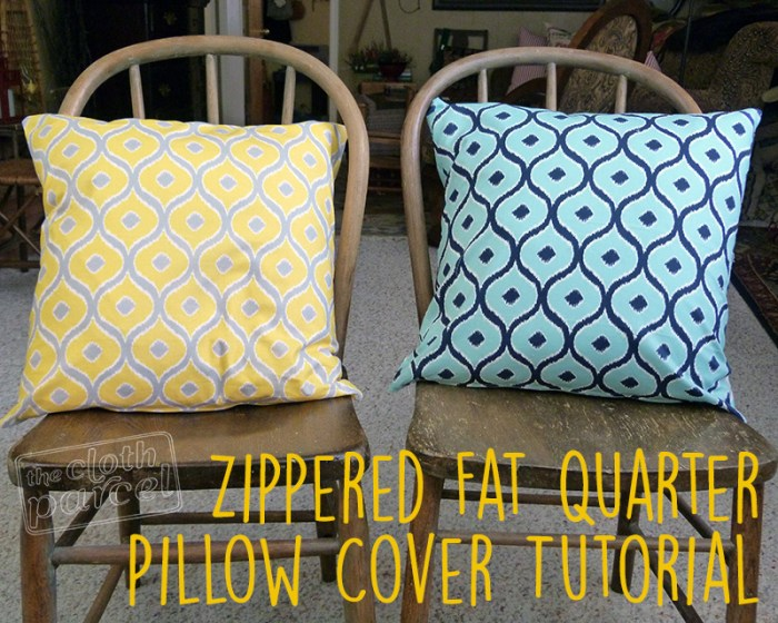 Zippered Fat Quarter Pillow Cover Tutorial