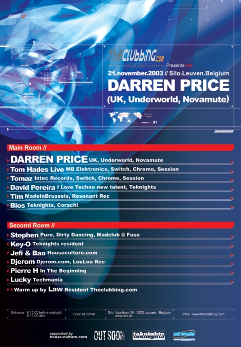The Clubbing Presents Darren Price / Underworld @ Silo (Leuven) 21 Novembre 2003
