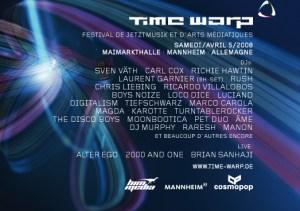"""TimeWarp est de retour! Après le vaste succès de 2007, le Festival de Jetztmusik et d'Arts Médiatiques intensifie sa programmation pour une nouvelle série d'évènements. Sous la bannière """"la Musique unit"""", les fers de lance de la musique électronique et des arts médiatiques de pointe se rassembleront de nouveau à Mannheim (Allemagne) entre le 29 mars et le 5 avril 2008. En proposant toute une gamme d'évènements innovateurs et de concerts lors de rendez-vous dans les lieux les plus spectaculaires que Mannheim peut offrir. Lors de la TimeWarp, évènement principal de l'année, les étoiles les plus brillantes de la culture club sont prévues, le 5 Avril, dans la """"Maimarkthalle"""". Ce qui imposera un peu plus le concept de ce festival, désormais bien ancré et devenu une institution culturelle favorisant l'innovation dans la région depuis son premier rendez-vous en 1994. La symbolique des trois couleures, utilisée pour la premiere fois en 2005 pour identifier toutes les zones, à été renforcée avec plus de descriptions et une meilleure différenciation. Concerts et spectacles: le Bleu pour présenter la semaine de festival, les évènements musicaux et les concerts de musique contemporaine, aussi importants que la légendaire TimeWarp du 5 Avril 2008 à la Maimarkthalle. Laboratoire: Le rouge réuni des ateliers passionnants, des séminaires et des occasions de formations intéressantes dans la musique et le secteur médiatique à """"L'académie de la musique populaire"""" de la région allemande de Baden-Württemberg. Arts et Médias: Le vert comprend l'ensemble, désormais habituel, des projections de films de qualité et d'autres représentations d'une grande variété, toutes dévouées à la construction de ponts entre les cultures musicales et cinématographiques. Parallèlement à une projection de documentaires musicaux très instructifs et une sélection musicale radicale, TimeWarp 2008 représentera une expression intense du large éventail d'innovations issues du travail de nombreux étudiants. Informa"""