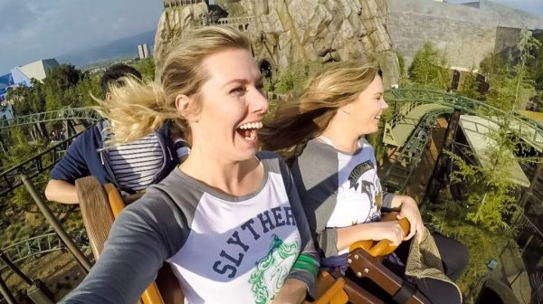 Blonde riding the Hippogriff rollercoaster - Visit the Wizarding World of Harry Potter Hollywood