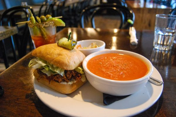 Best Food in Vancouver - Pulled pork sandwich and tomato soup at The Whip