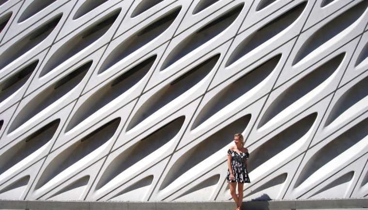 Everything You Need to Know When Visiting The Broad; girl in front of white building