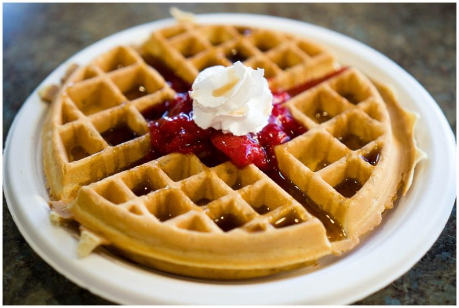 Staying at The Inn at The Cove; hotel amenities breakfast waffles