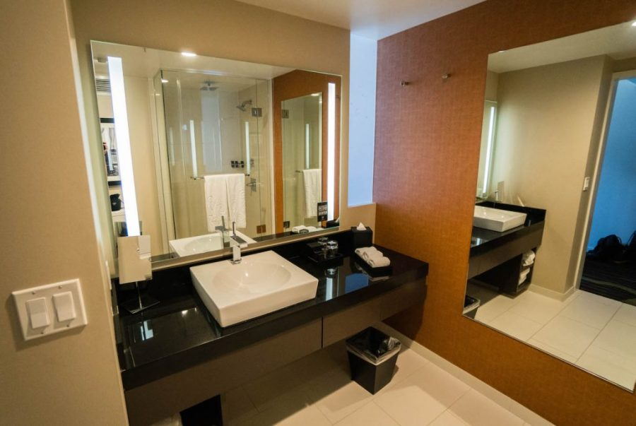 Staying at the Hard Rock Hotel San Diego; bathroom interior