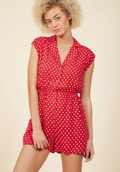 what you should pack for a California road trip; red and white polka dot romper