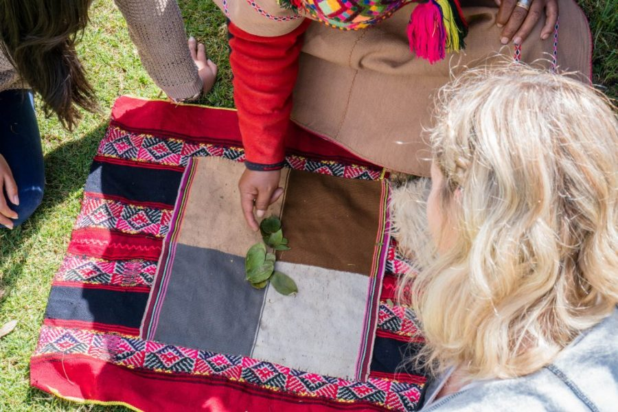 Peruvian shaman; Peru Shamans in Cusco Peru coca tea leaf reading