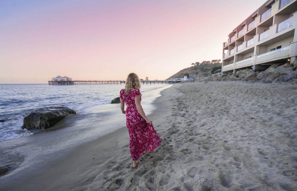 staying at Malibu Beach Inn; sunset Malibu pier
