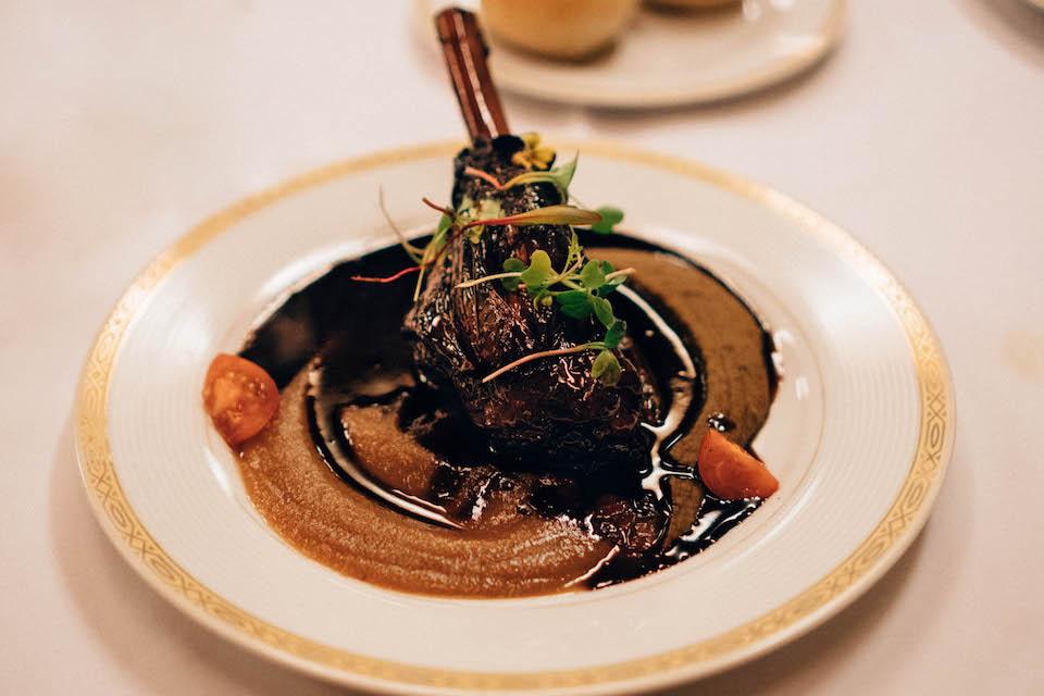 Le Soleil Restaurant; lamb shank lentil puree and lavendar