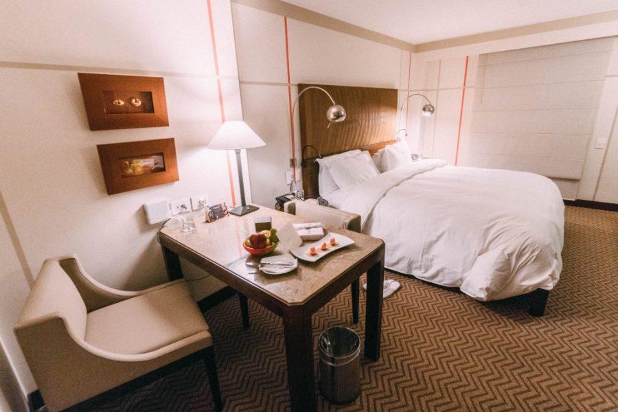 Staying at Sofitel Bogota; interior bedroom