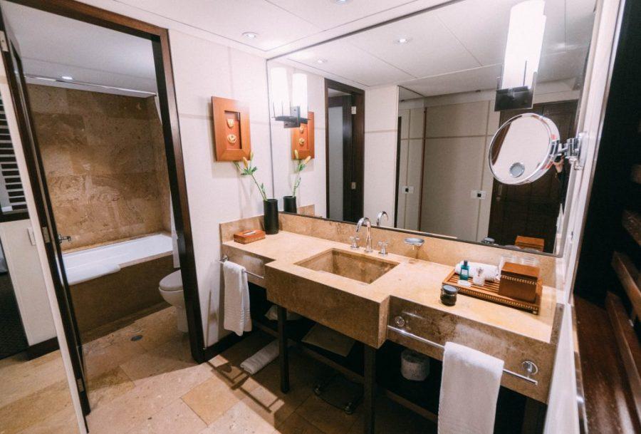 Staying at Sofitel Bogota; interior bathroom