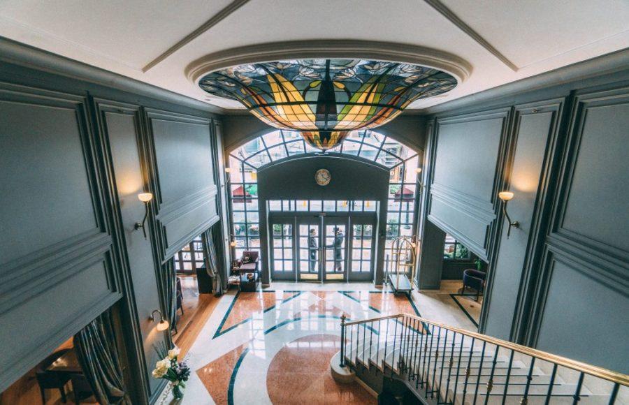 Staying at Sofitel Bogota; interior lobby staircase