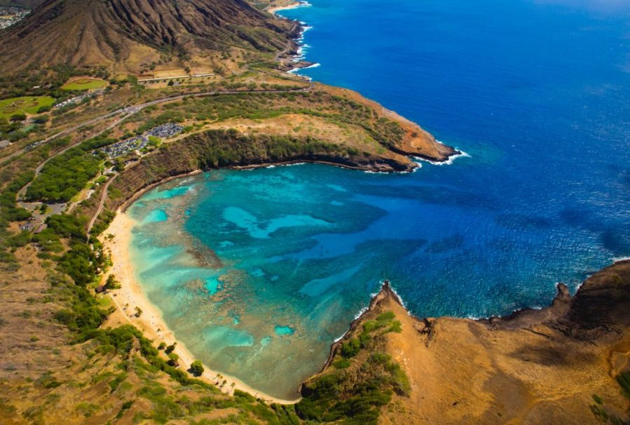 best things to do in Oahu; aerial view of Hanauma Bay State Park