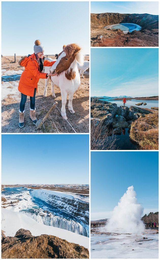 travel the ring road in Iceland; Þingvellir National Park,Strokkur Geysir,Gullfoss Falls, andKerið Crater Lake