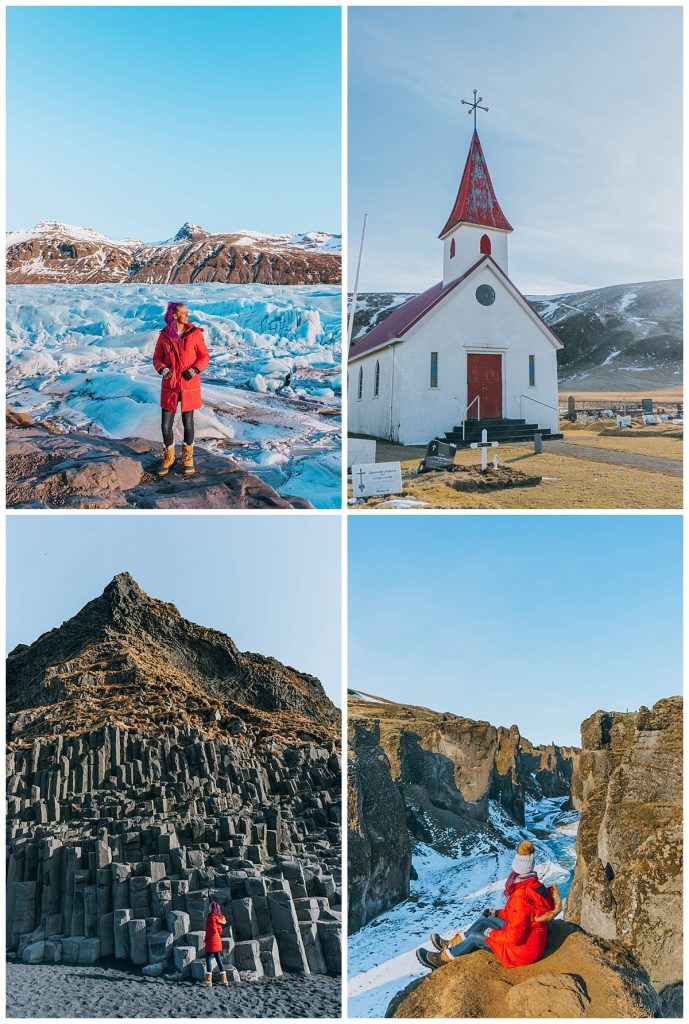 travel the ring road in Iceland; Reynisfjara Black Sand Beach,Vík,Fjaðrárgljúfur Canyon,Svinafellsjokulsvegur Glacier,Jökulsárlón Glacier Lagoon,Diamond Beach