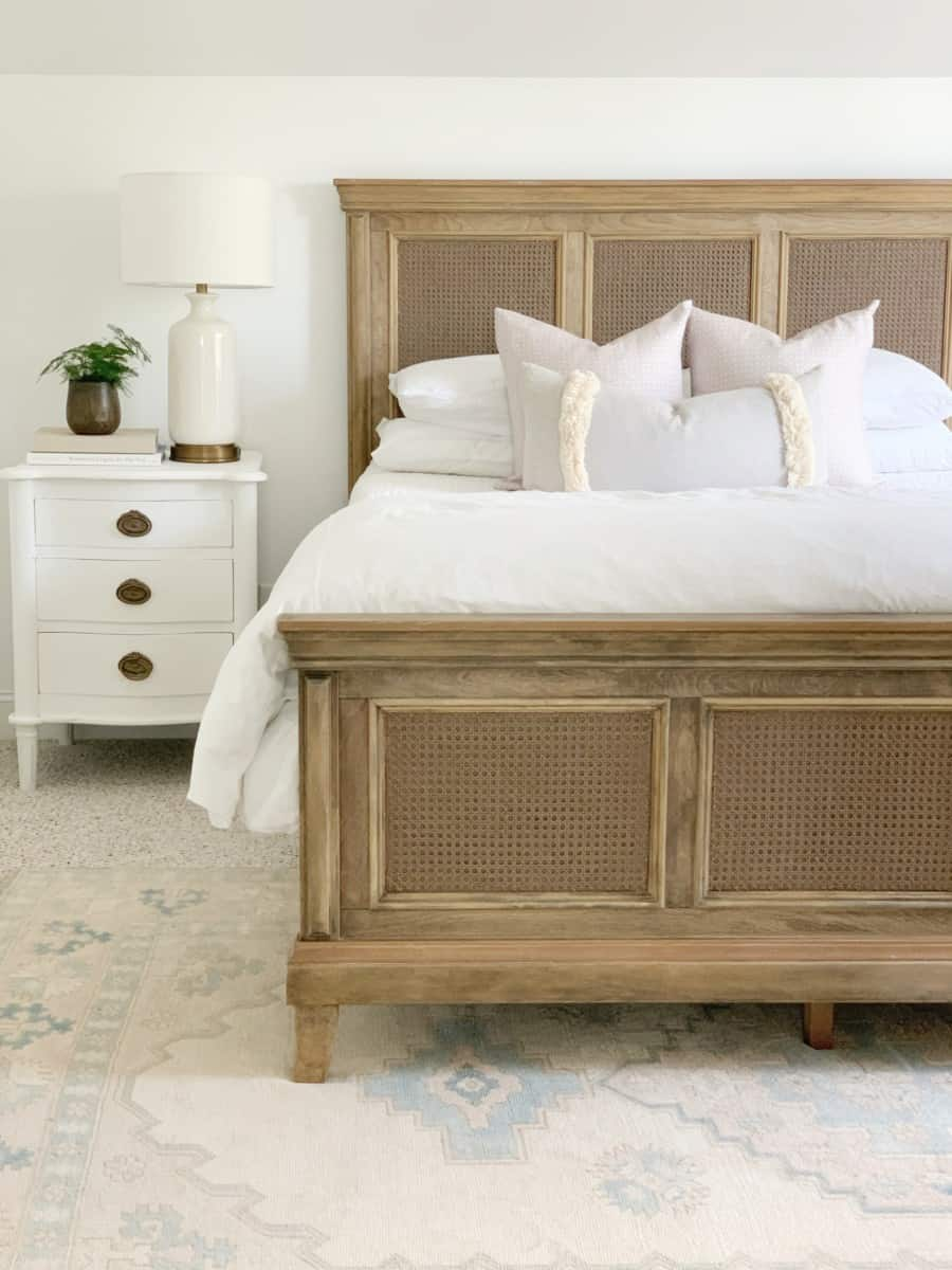 How to refinish and add cane to a bed.  #canefurniture #canewebbing #refinishingfurniture #serenaandlily #potterybarn