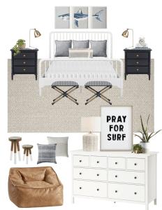 Coastal boy's bedroom decor with splurge and save options. #coastaldecor #boysbedroom #teenroom #teendecor #serenaandlily