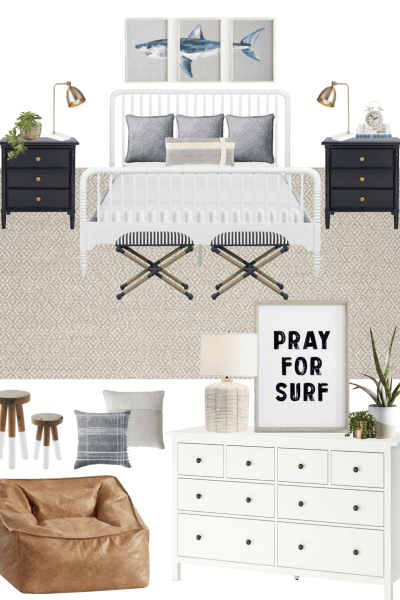 Coastal boy's bedroom decor with splurge and save options. #coastaldecor #boysbedroom #teenroom #teendecor #serenaandlily