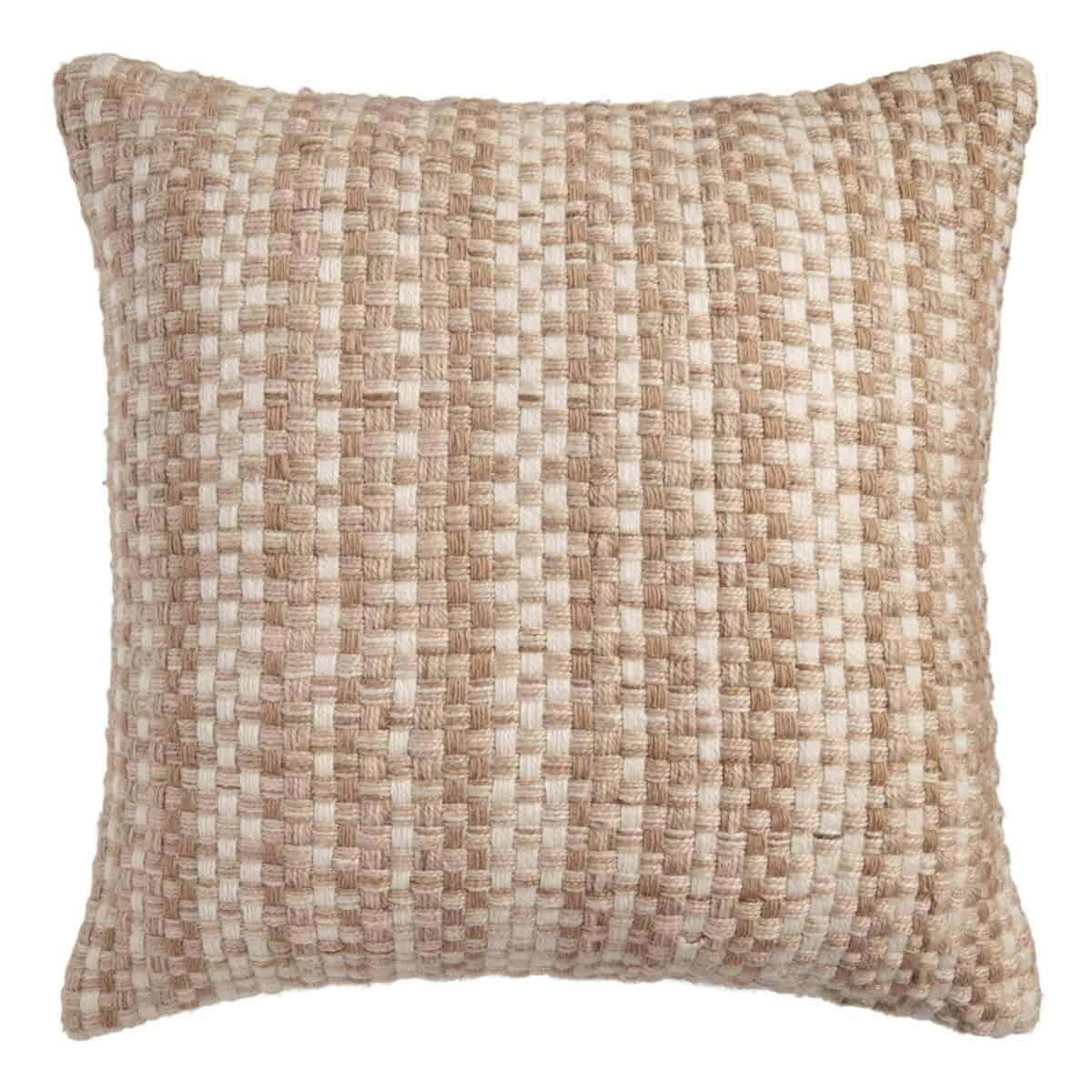 Natural Basket Weave Indoor Outdoor Throw Pillow