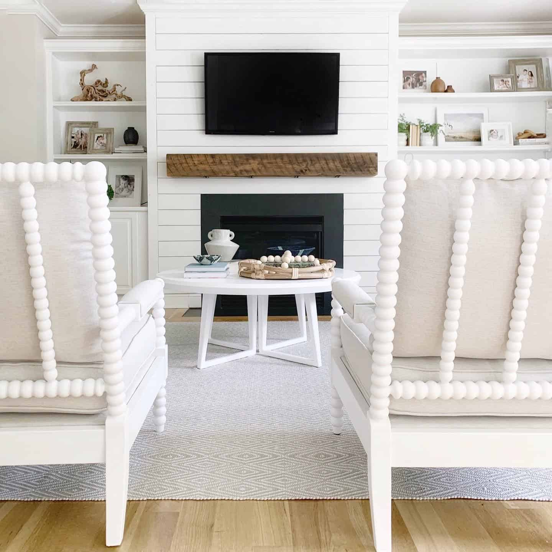 Coastal inspired living room - The Coastal Oak Blog.  #coastalhome #coastalliving #spindlechair #spoolchair #accentchair #fusionpaint #fusion #mineralpaint #serenaandlily #birchlane #livingroomfurniture #livingroomchairs