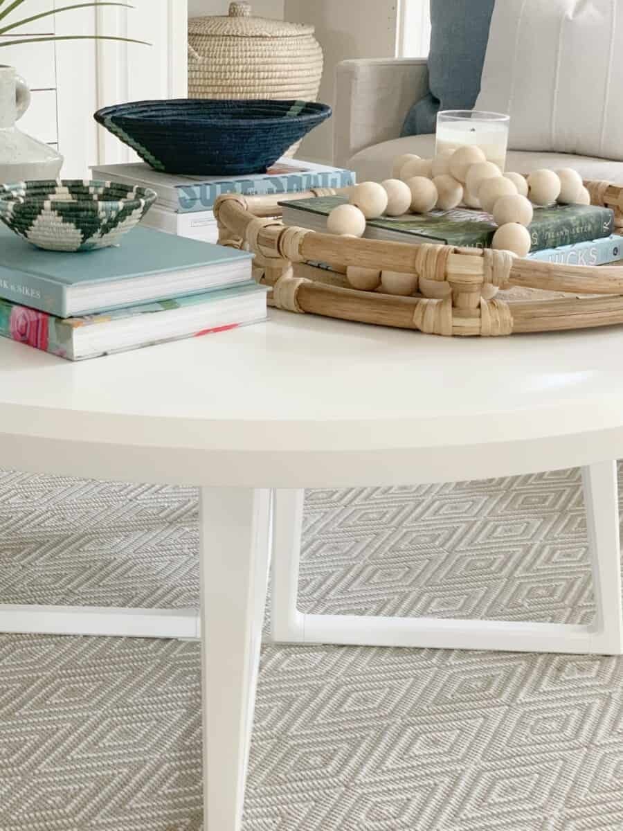 Coastal living room refresh with Serena & Lily featuring the Downing Round Coffee Table. #coastalhome #coastaldecor #coastaldesign #serenaandlily #SLpartner #livingroom #coffeetable #charlestonhomes #charleston