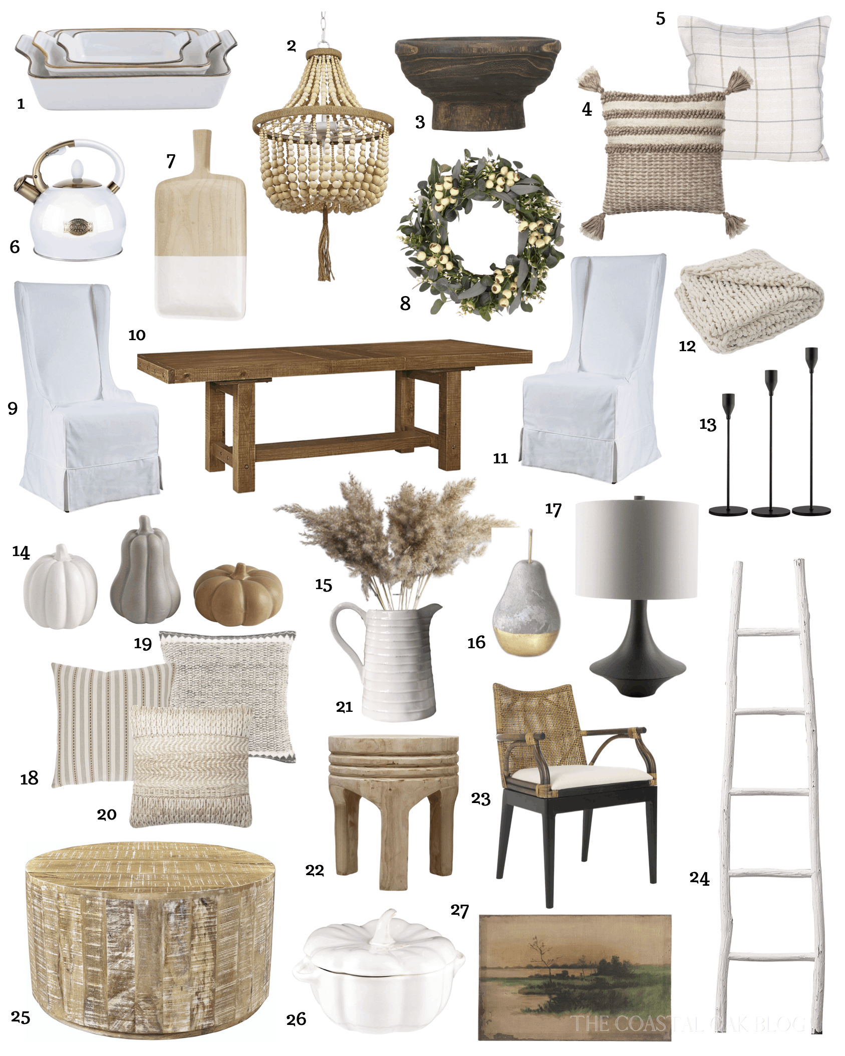 Amazon fall home decor items including neutral, coastal, and cozy fall decor. #coastaldecor #falldecor #fall #amazon #amazonhaul #amazonhomedecor #coastalfall #fallcoastaldecor #neutralfall #pampasgrass #neutraldiningroom #loloi