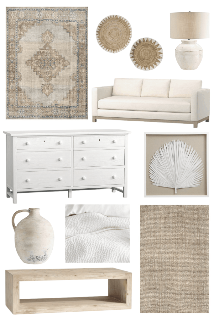 My favorite Pottery Barn home decor including the Finn Hand-Knotted Rug, Chunky Jute Wool Rug, Folsom Console and Coffee Tables, and the Pick-Stitch Quilt.  Coastal home decor and Pottery Barn living room and bedroom decor.  #masterbedroom #potterybarn #finnrug #chunkyjutewool #potterybarnbedroom #potterybarnlivingroom #coastalroom #coastaldesign #coastallivingroom #coastalbedroom #whitebedroom #whitelivingroom #shiplalpfireplace