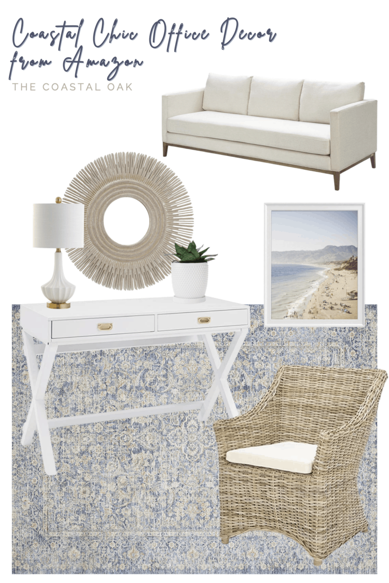 Coastal chic office decor with serene and neutral home decor, coastal art, and natural rattan accents, and more from Amazon Home.