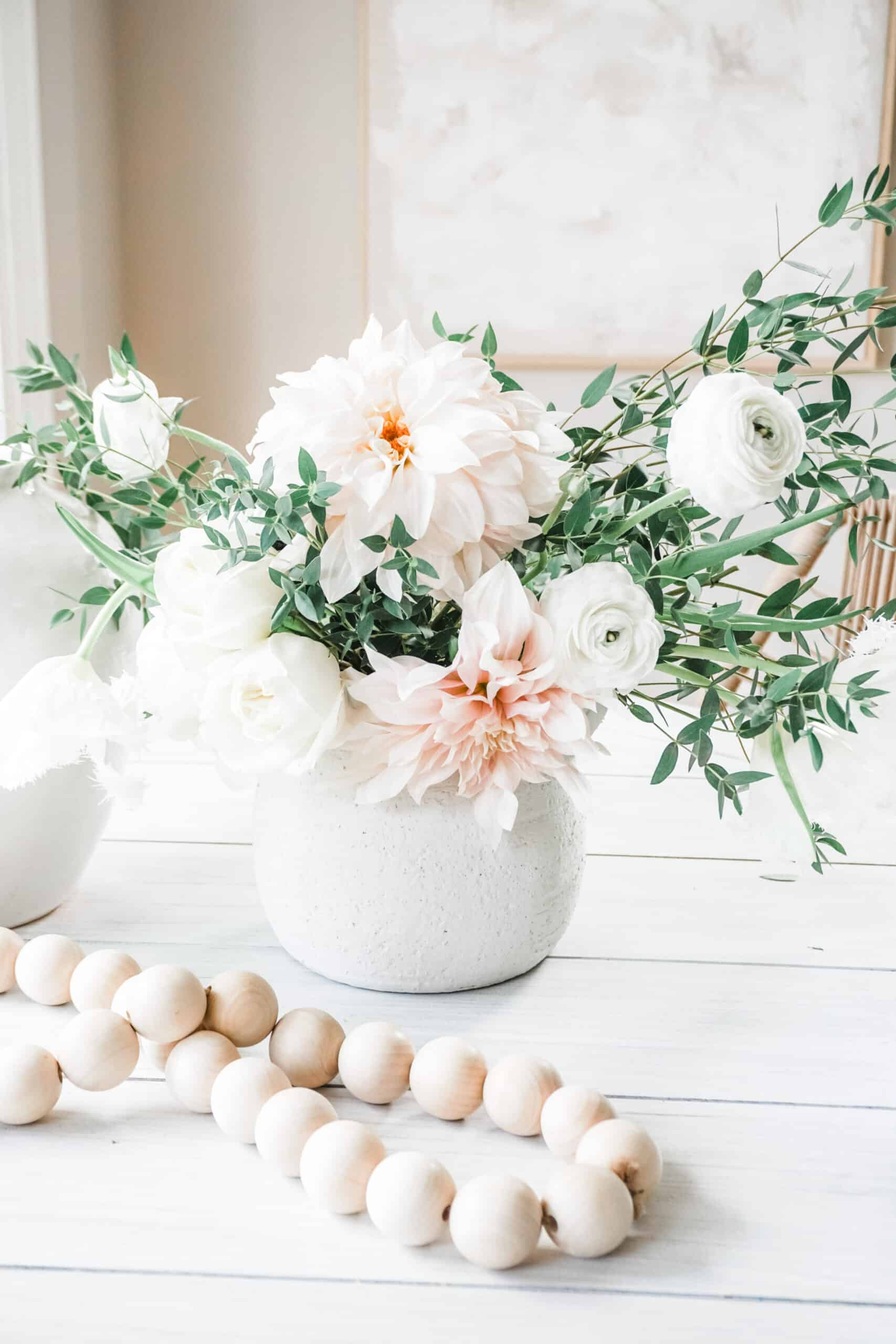spring flower arrangement with frog lid and vases from target