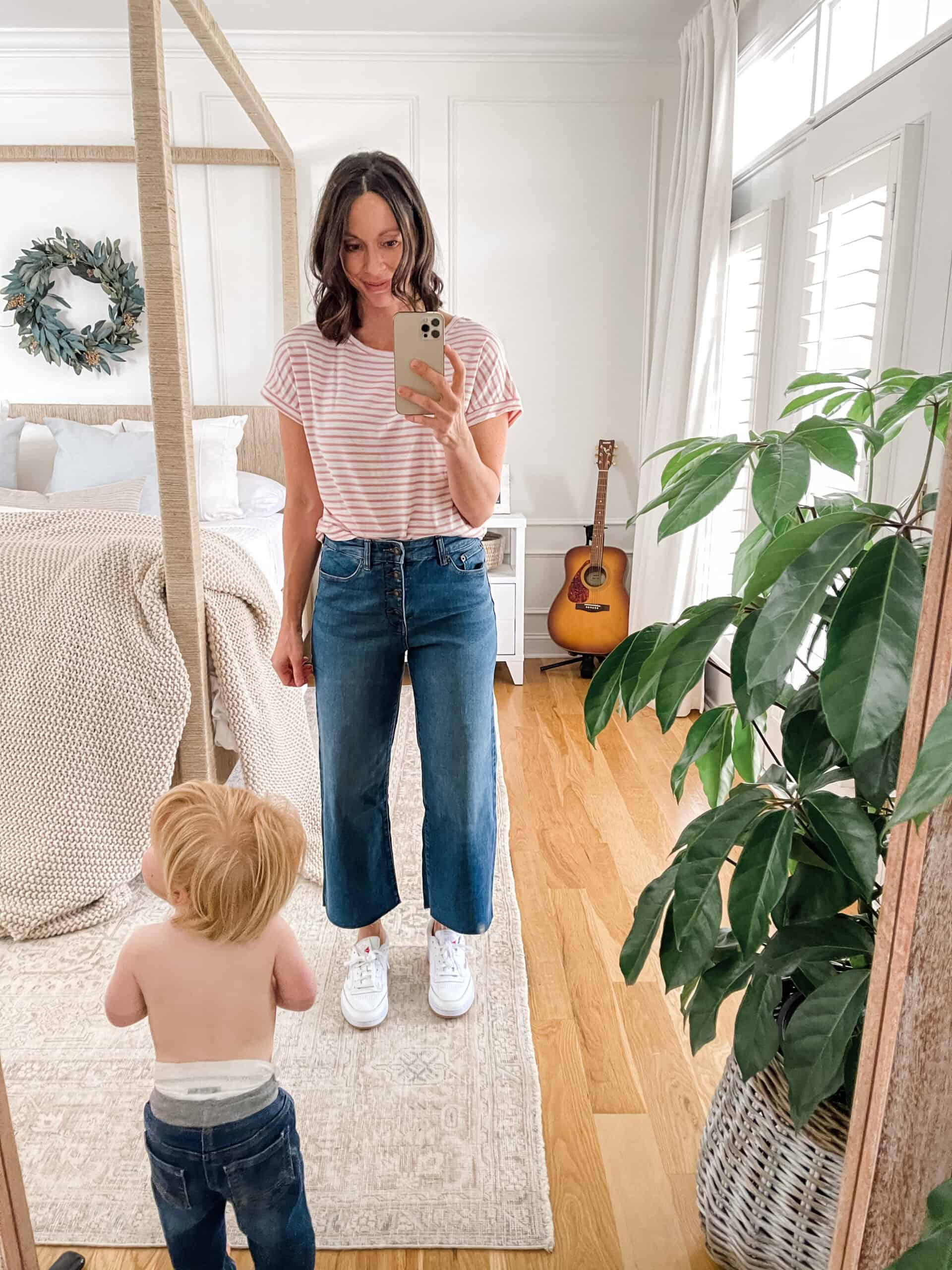 pink striped shirt with wide leg jeans