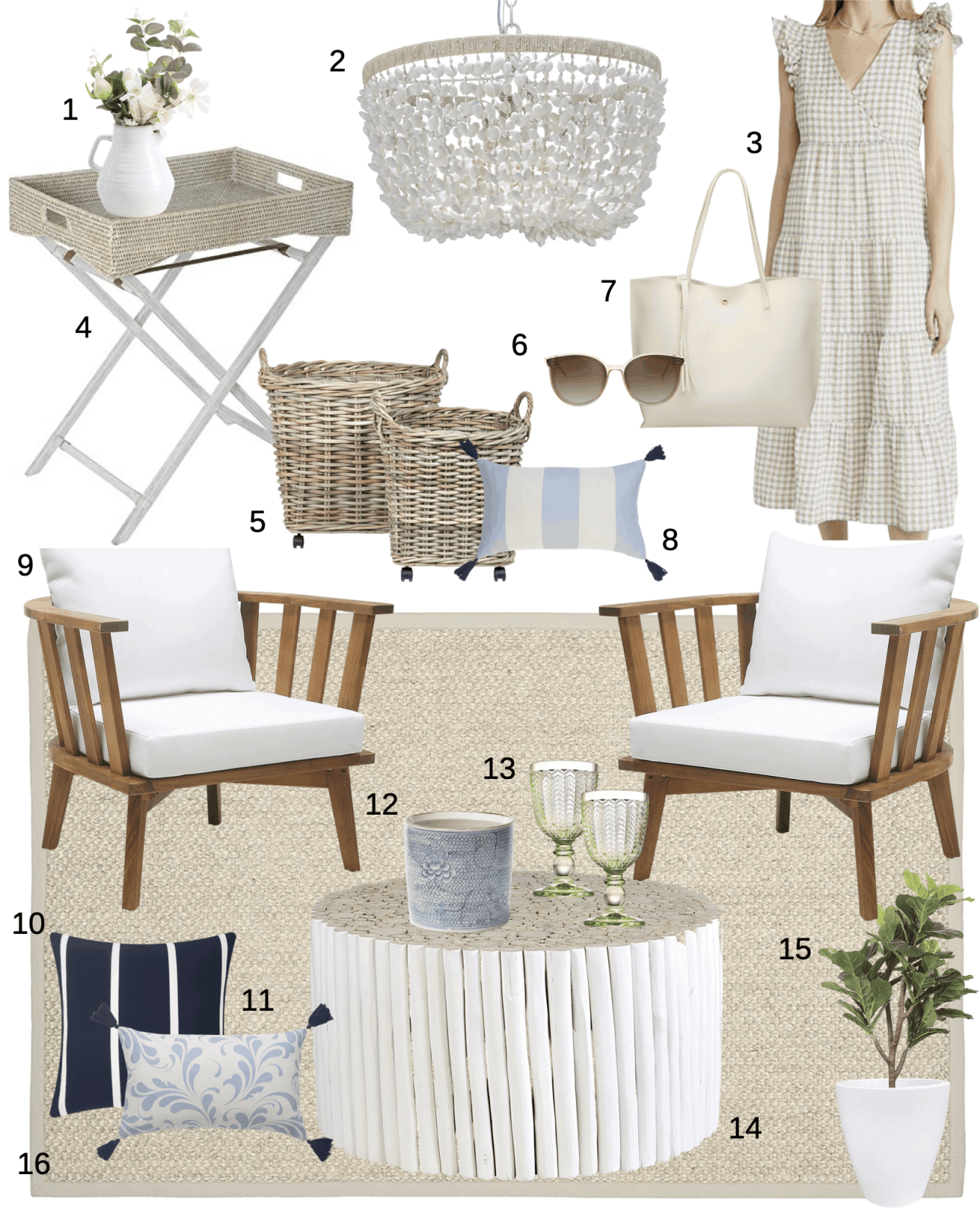 Amazon Home items for your coastal porch or sunporch.  Cute coastal home decor that looks great on a porch.  #porchdecor #coastalporch #coastal #amazonhome #amazonporch #amazonpatio #patioideas #patiodecor
