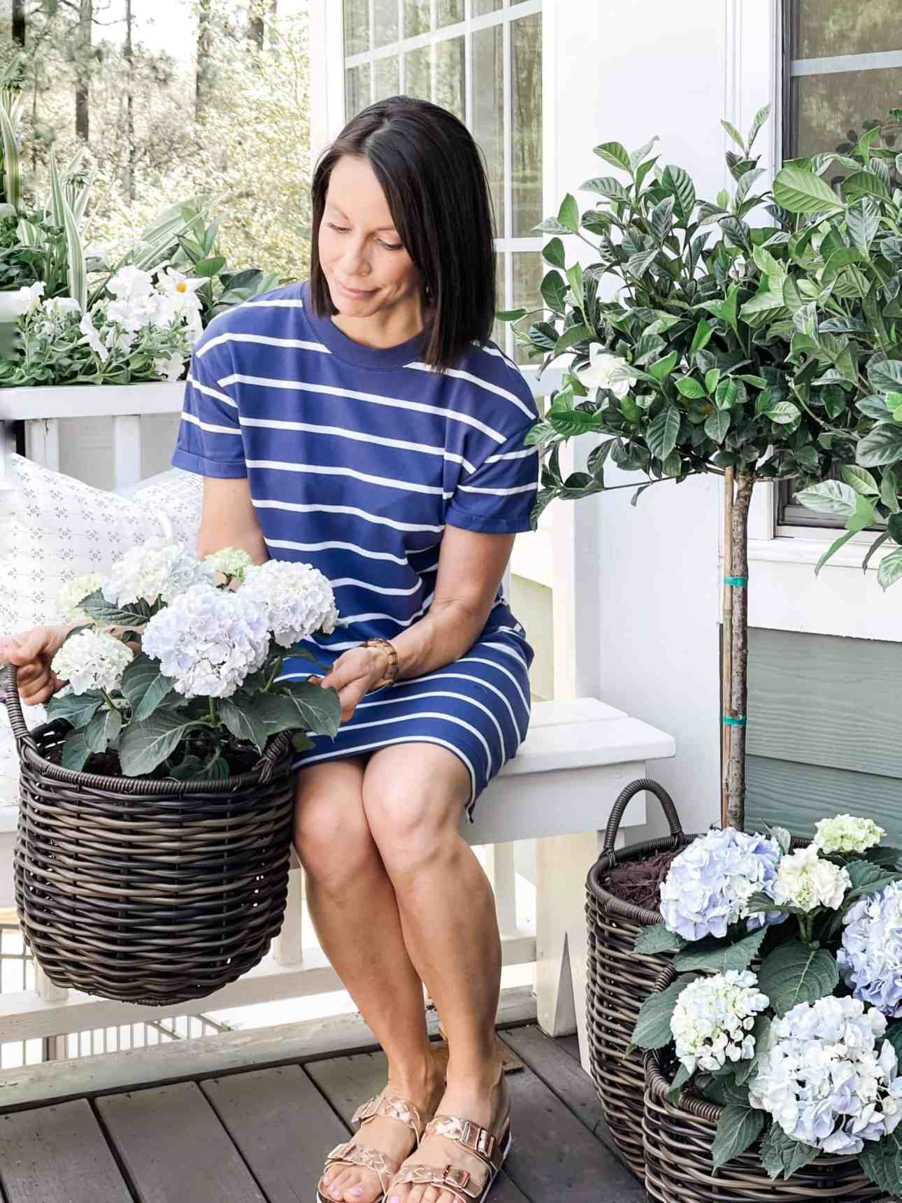 Blue and white dress with hydrangeas in baskets from Walmart.