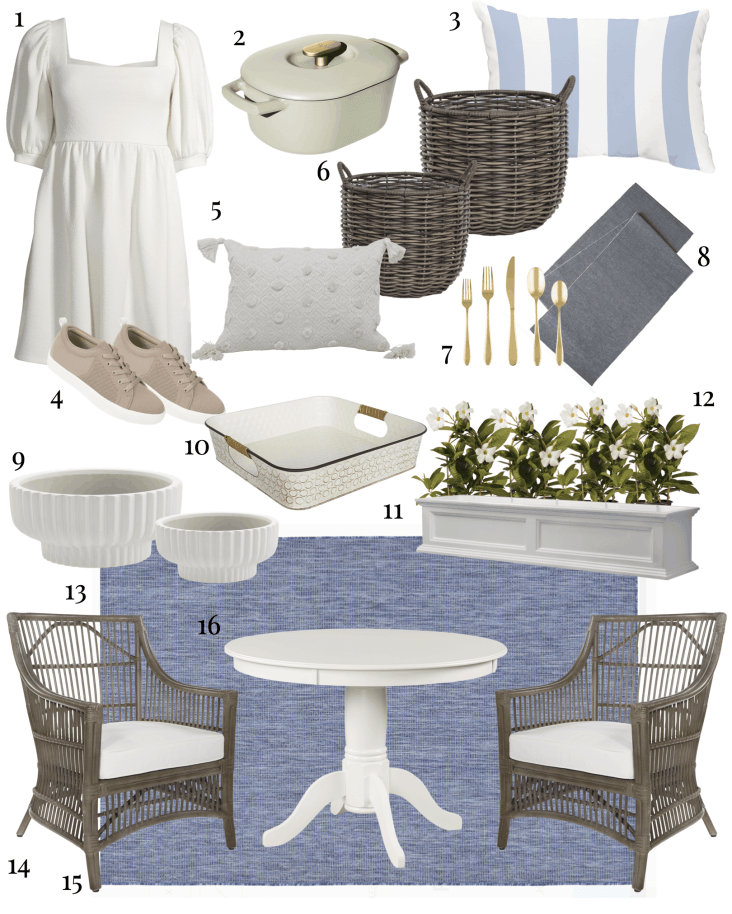 Blue and white porch decor from Walmart in a collage.