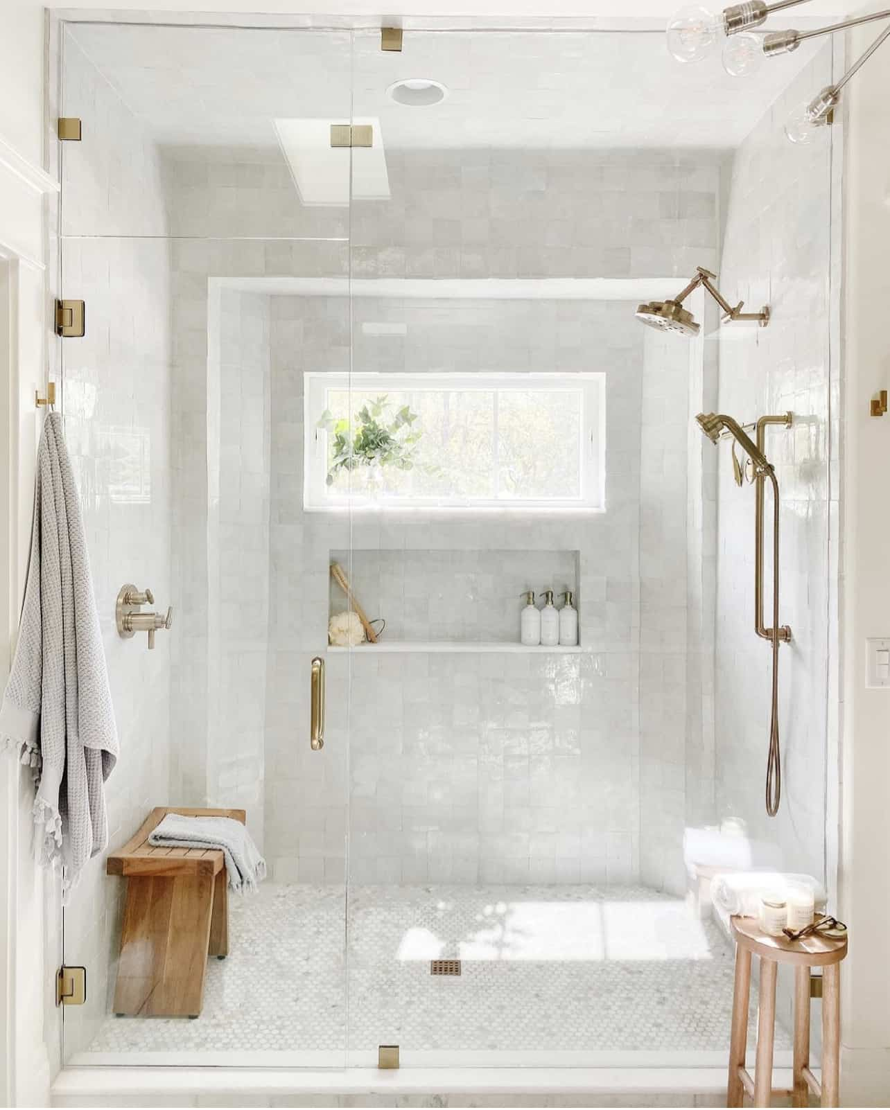 Penny marble tile used in bathroom design.