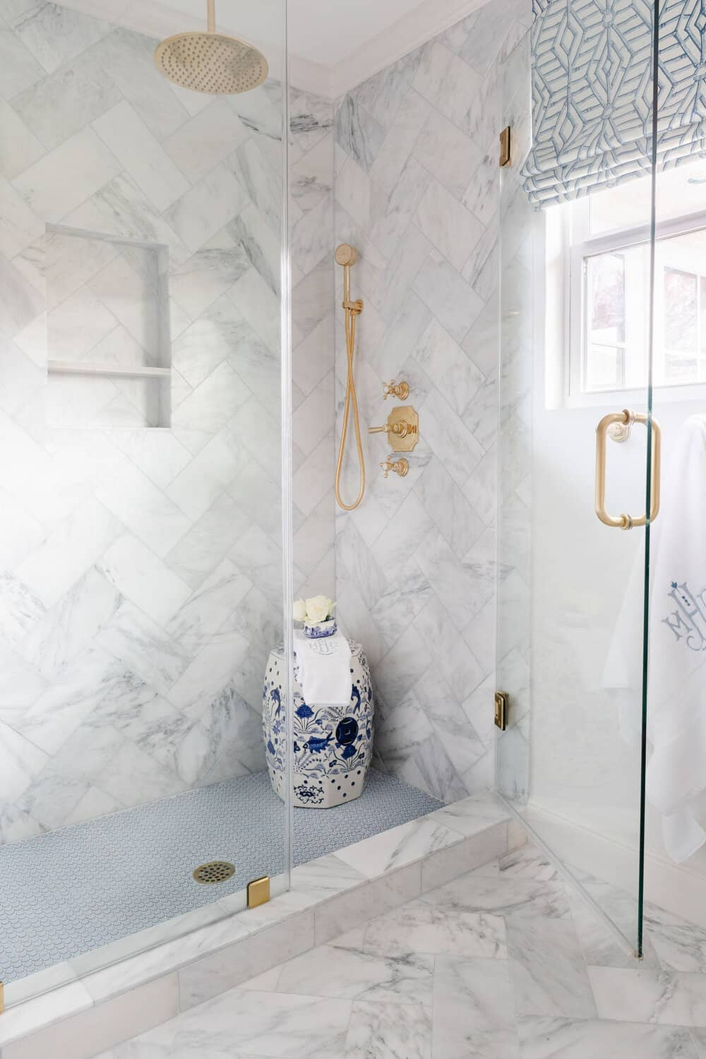 Marble tile used in shower.