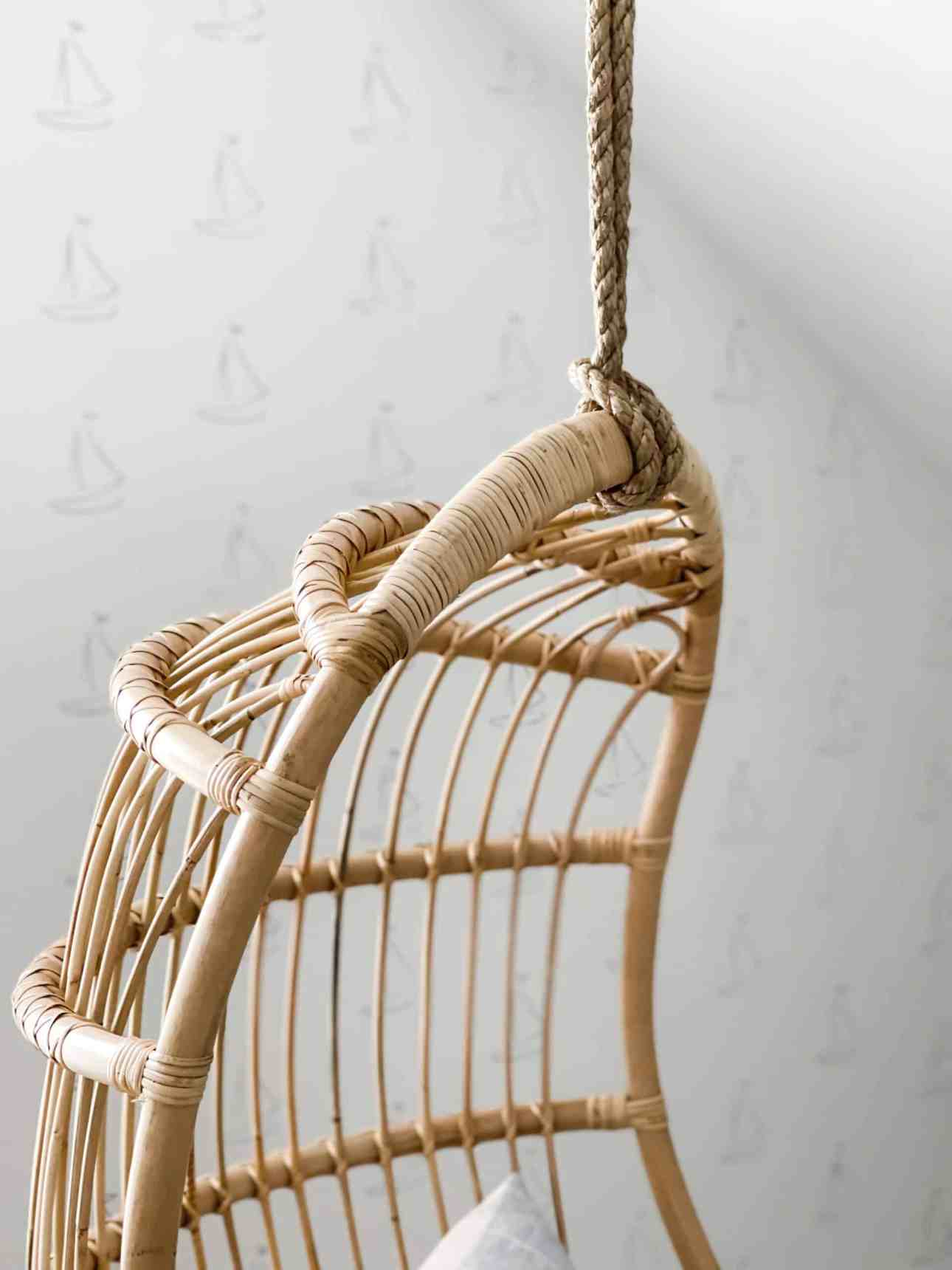 Rope holding the hanging rattan chair that holds 300lbs.