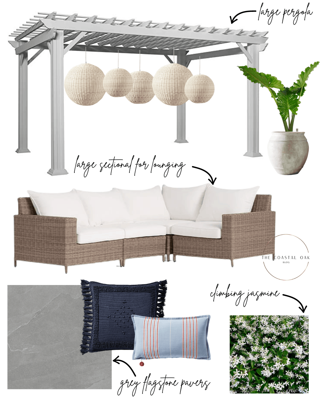 Outdoor makeover design plans with large pergola and flagstone.