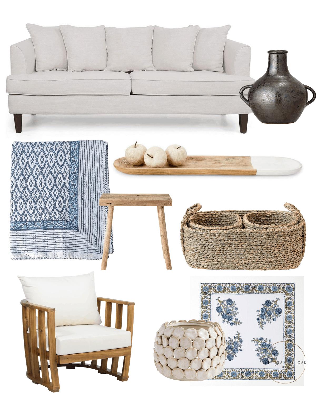 Home decor ideas with coastal blue decor.