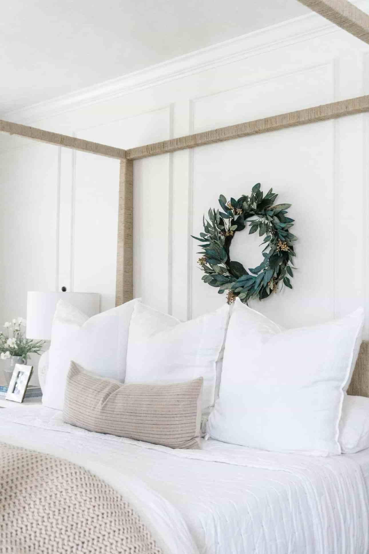White Sutter quilt and linen bedding.
