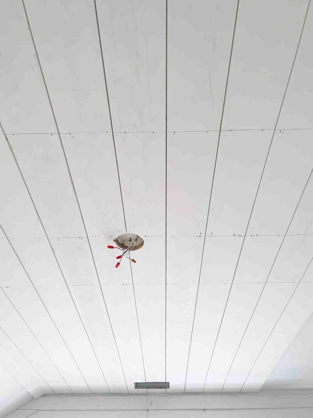 Ceiling shiplap in the nursery.